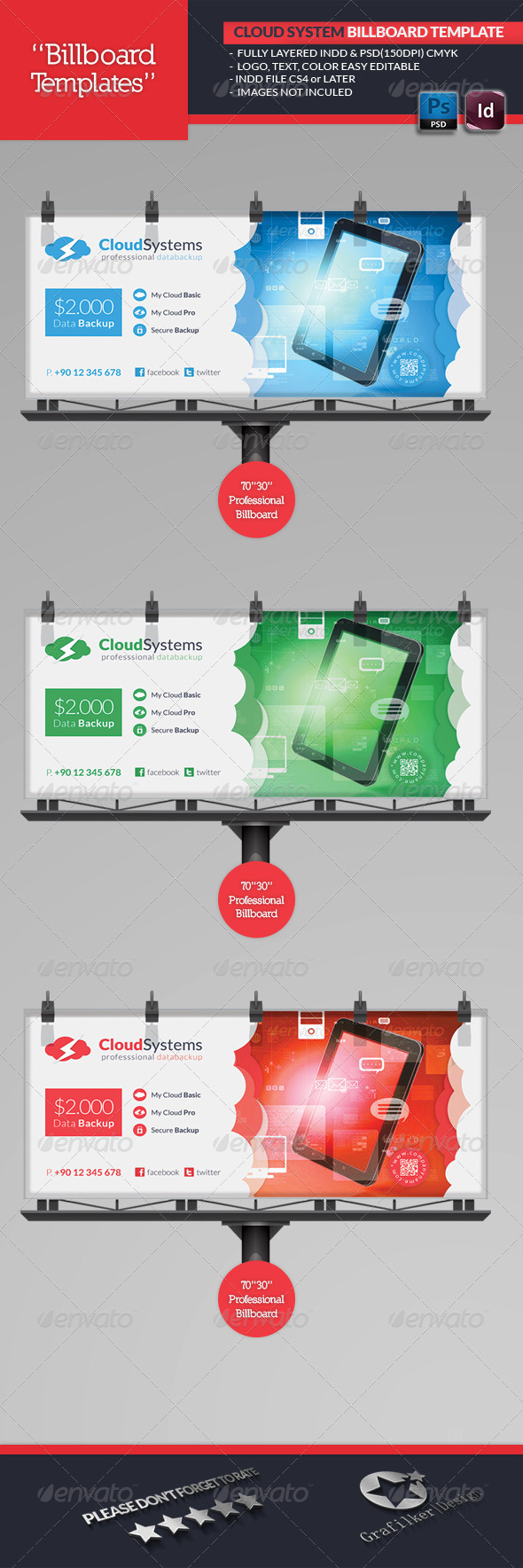 Cloud Systems Billboard Template - Signage Print Templates