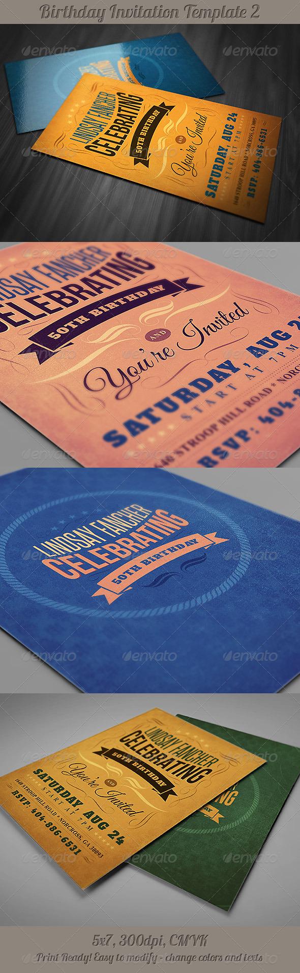 GraphicRiver Retro Birthday Invitation 2 4778490