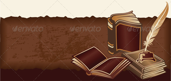 Vector Retro Background with Vintage Books