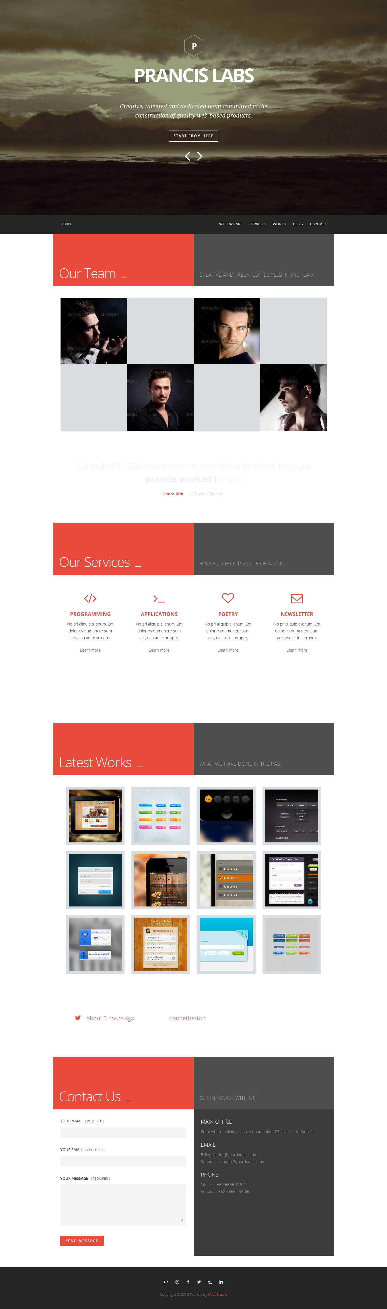 Prancis - flat clean one page site template