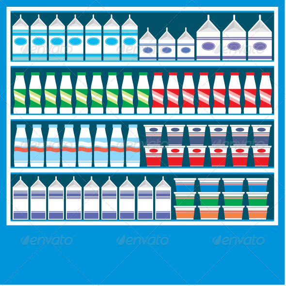 GraphicRiver Supermarket Shelves with Dairy Products 4780024