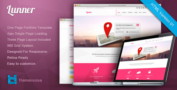 ThemeForest Lunner Retina Responsive One Page HTML Template 4734937