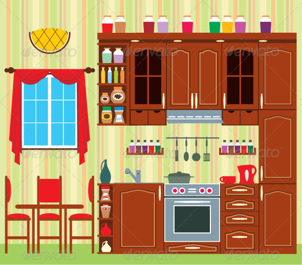 Picture of a kitchen with a window graphicriver for Kitchen room cartoon images