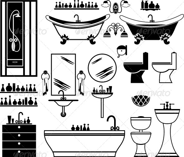 GraphicRiver Set of Black Icons of Bathroom 4780311