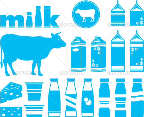 GraphicRiver Set Icons of Milk Dairy Products and Cow 4780318