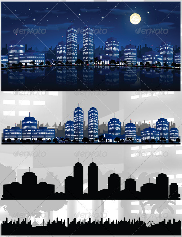 City At Night Vector Background Skyline