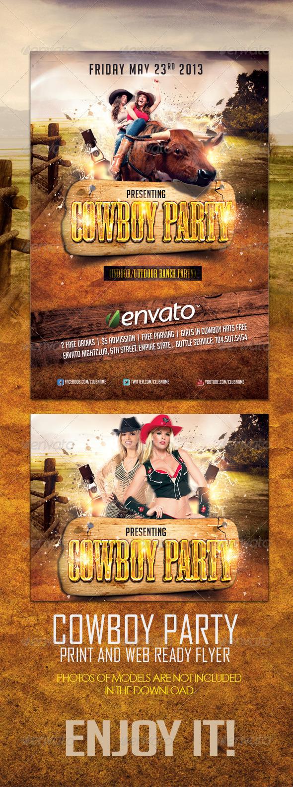 GraphicRiver Cowboy Party Flyer 4781412