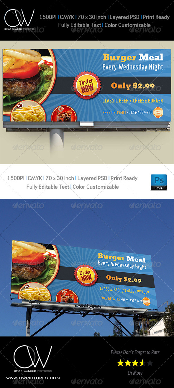 Burger Restaurant Billboard Template - Signage Print Templates