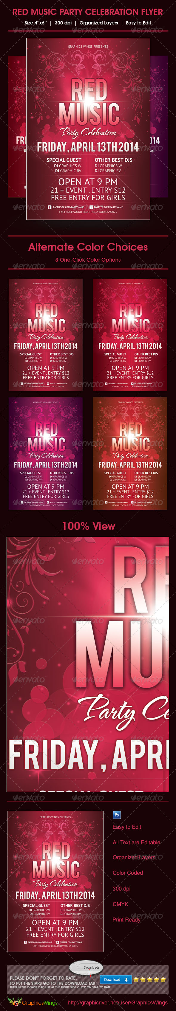 GraphicRiver Red Music Party Celebration Flyer Template 4698216