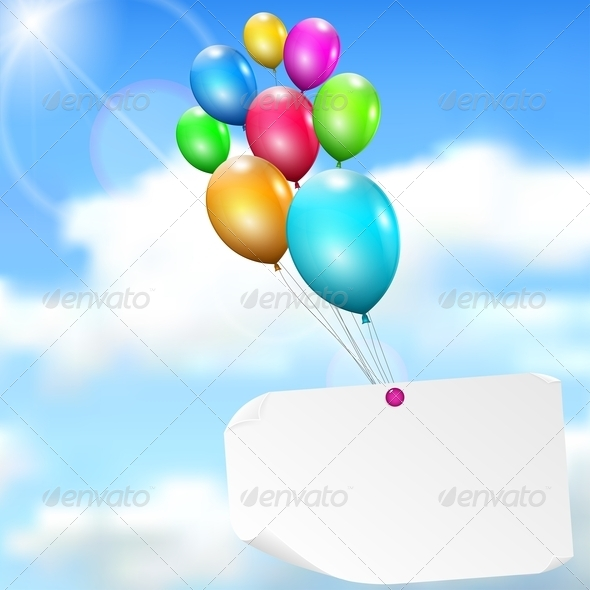 GraphicRiver Multicolored Balloons with Paper Card 4764873