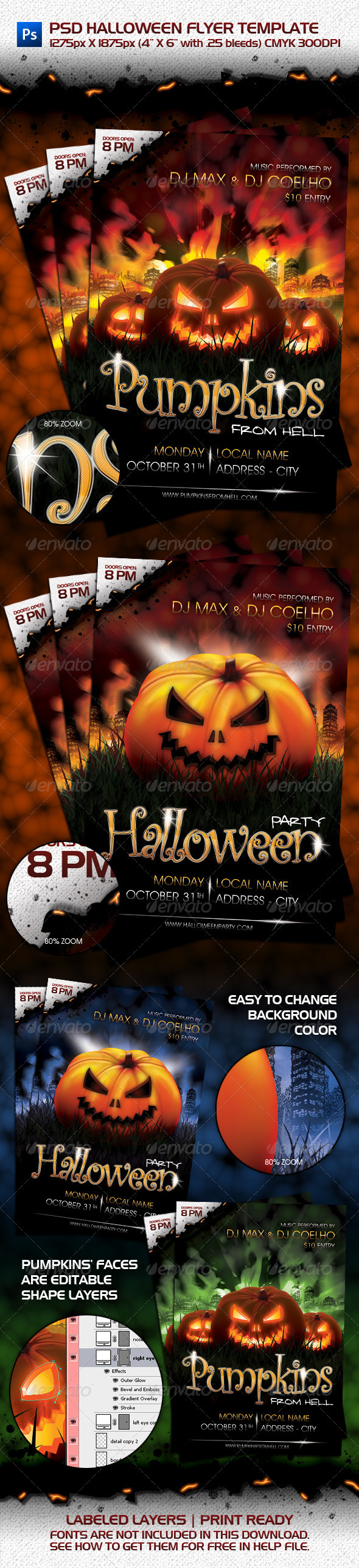 PSD Halloween Flyer Template - Clubs & Parties Events