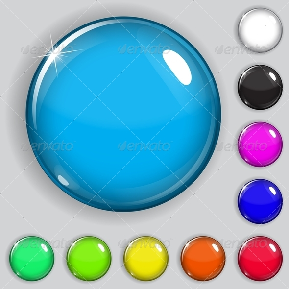 Multicolored Glass Buttons - Web Elements Vectors
