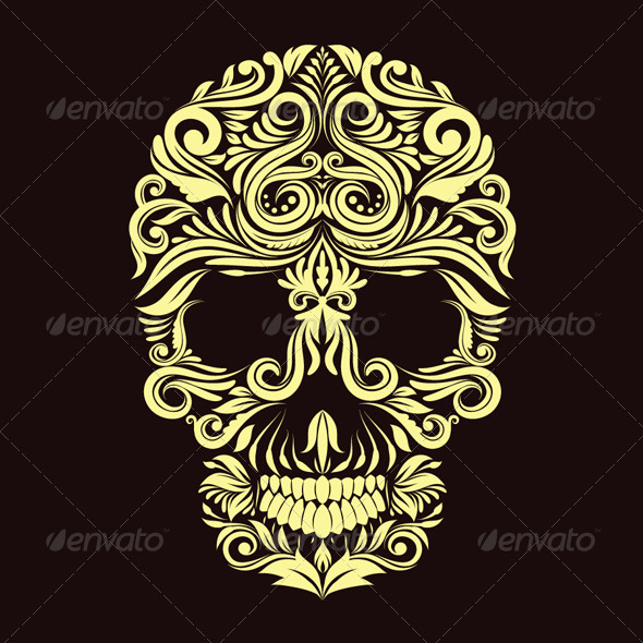GraphicRiver Dark Brown Ornament Skull 4785308