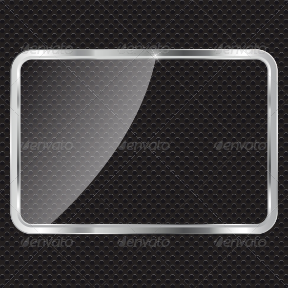 GraphicRiver Empty Glass Frame on Metal Background with Lights 4786419