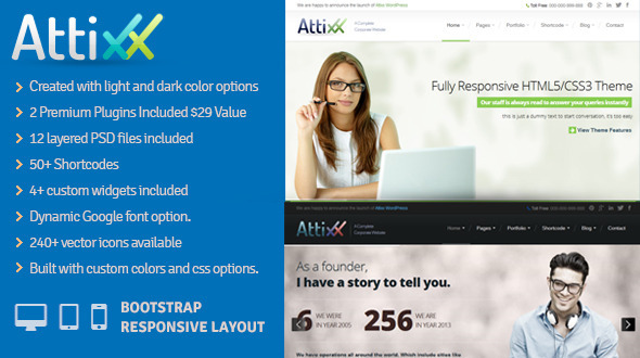 Attixx – Responsive Corporate WordPress Theme (Corporate) images