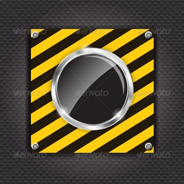 GraphicRiver Glossy Black Button on a Construction Background 4786426