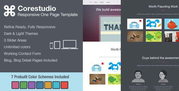 ThemeForest CoreStudio Responsive One Page HTML5 Template 4783437