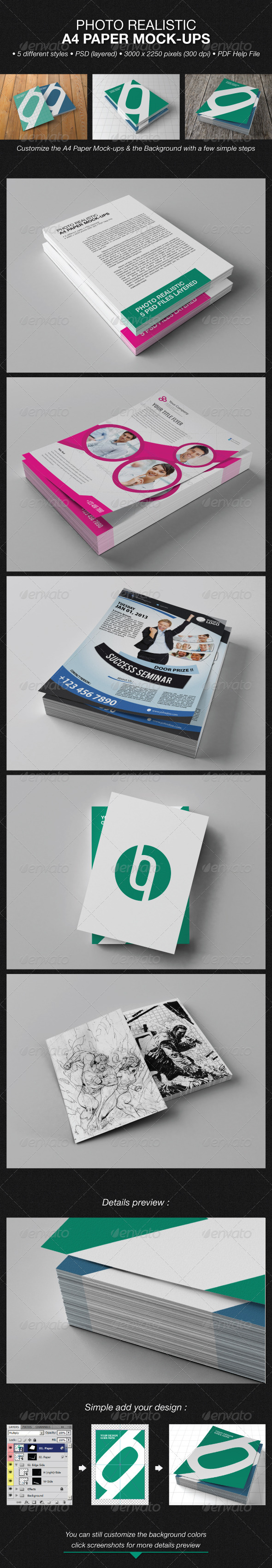 Photo Realistic A4 Paper Mock-Ups - Flyers Print