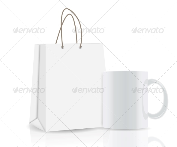 GraphicRiver Empty Shopping Bag and Cup for Advertising 4786479