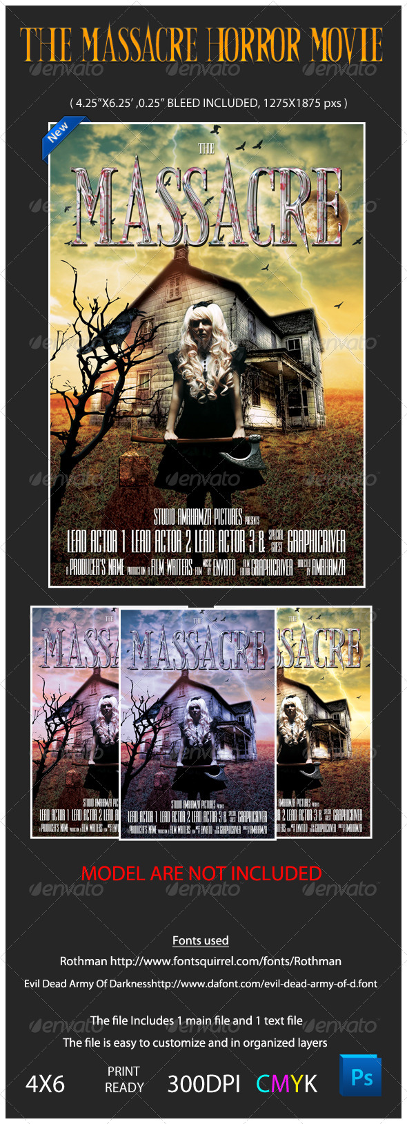 GraphicRiver The Massacre Horror Movie Flyer Template 4697711