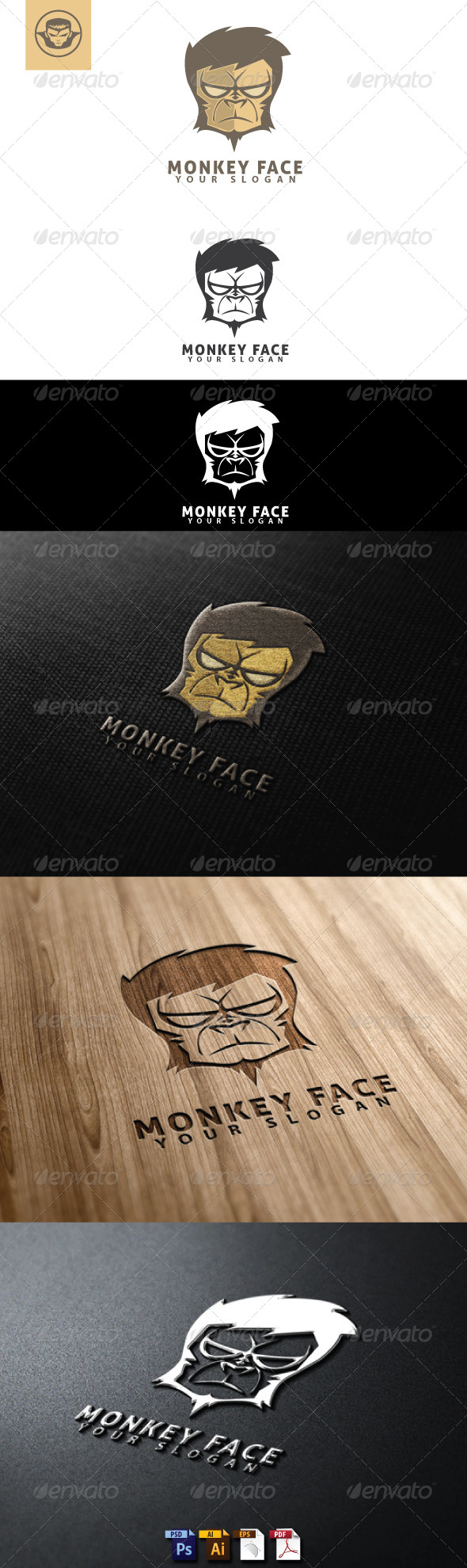 Monkey Face Logo Template - Animals Logo Templates