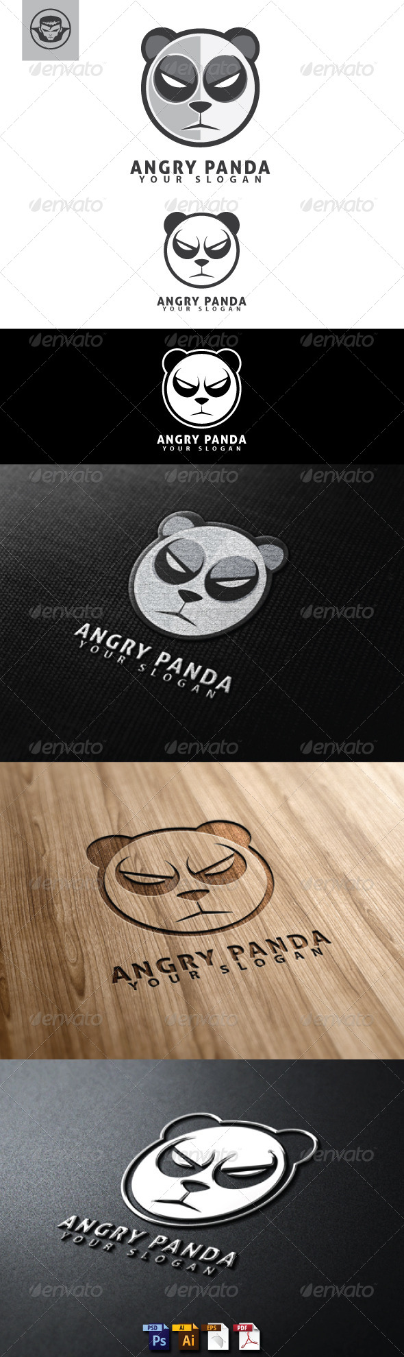 Angry Panda Logo Template - Animals Logo Templates