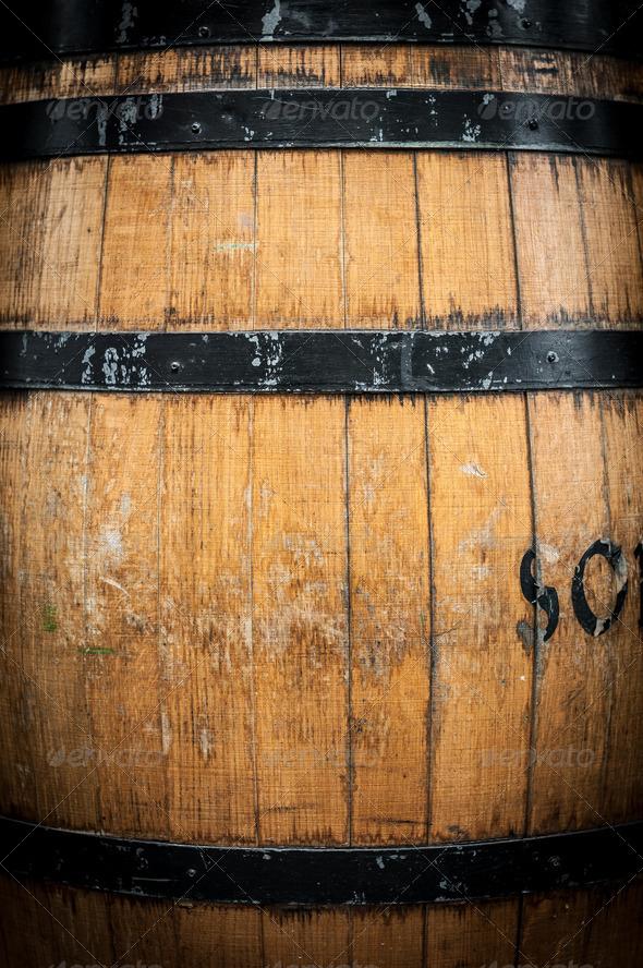 Detail of wooden barrel with metal hoops.