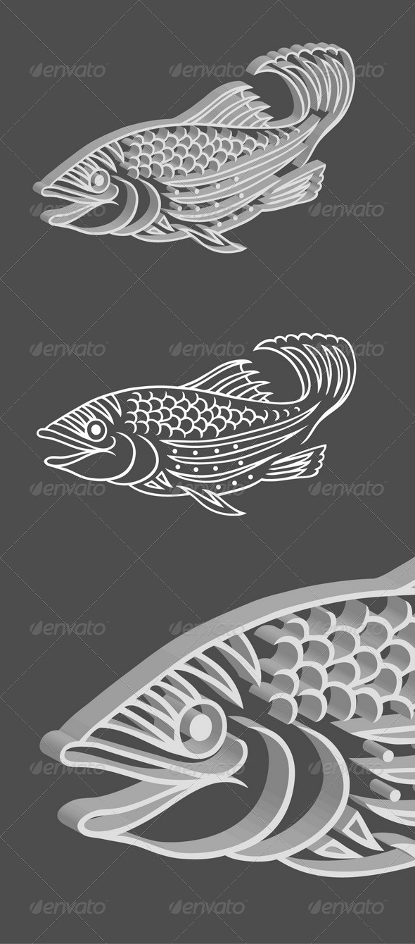 3D Relief Fish Vector - Animals Characters