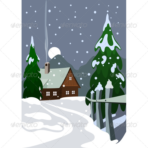 GraphicRiver Illustration of House in Snow Forest 4790692