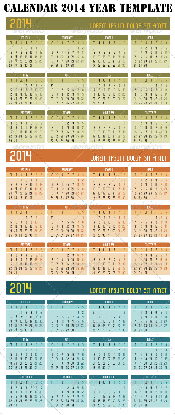 GraphicRiver Calendar 2014 Year 4790996
