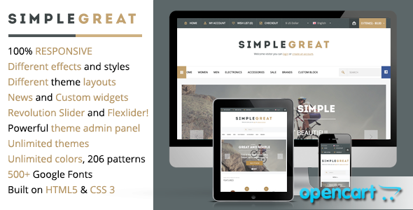 ThemeForest SimpleGreat Premium Responsive OpenCart theme 4792599