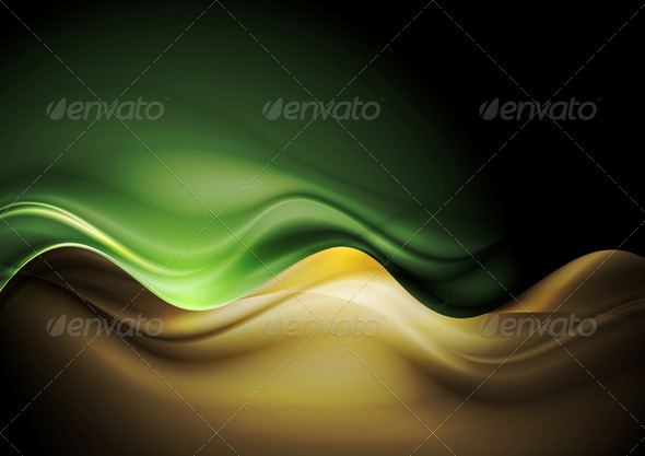 Dark Orange and Green Waves Template