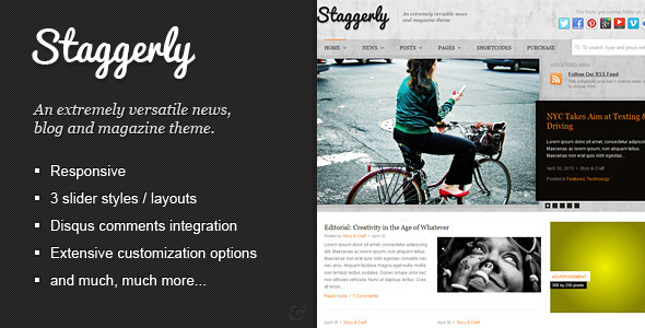ThemeForest Staggerly Responsive News Magazine & Blog Theme 4759941