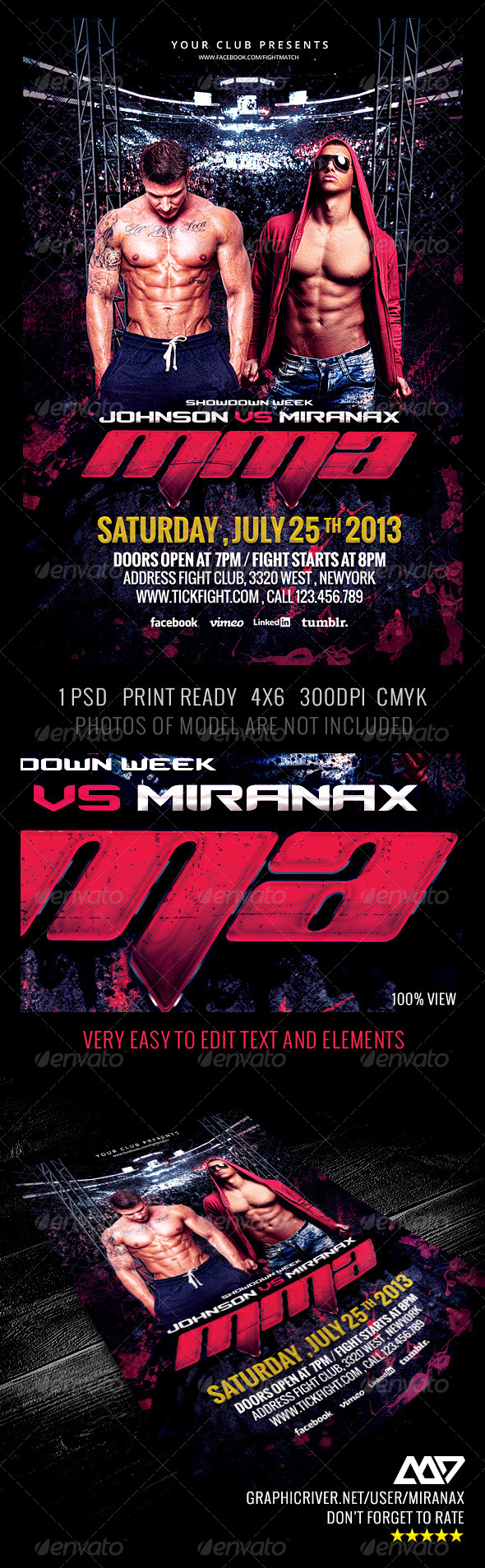 GraphicRiver Fight MMA UFC Night Flyer Template 4792920