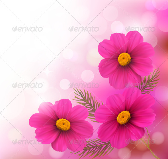 GraphicRiver Holiday Background with Three Pink Flowers 4792923