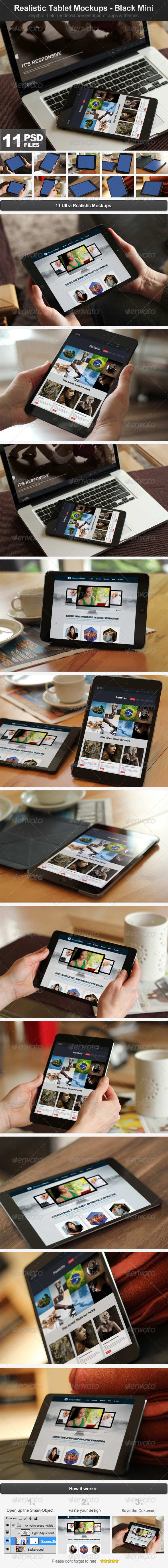 GraphicRiver Realistic Tablet Mockups Black Mini 4792943