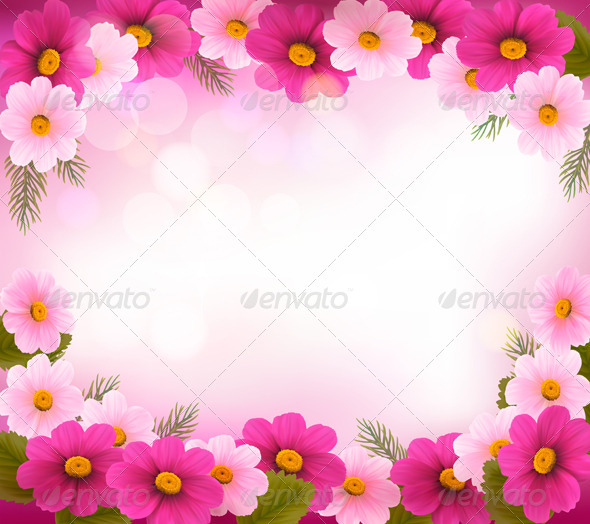 GraphicRiver Holiday Frame with Colorful Flowers 4792993