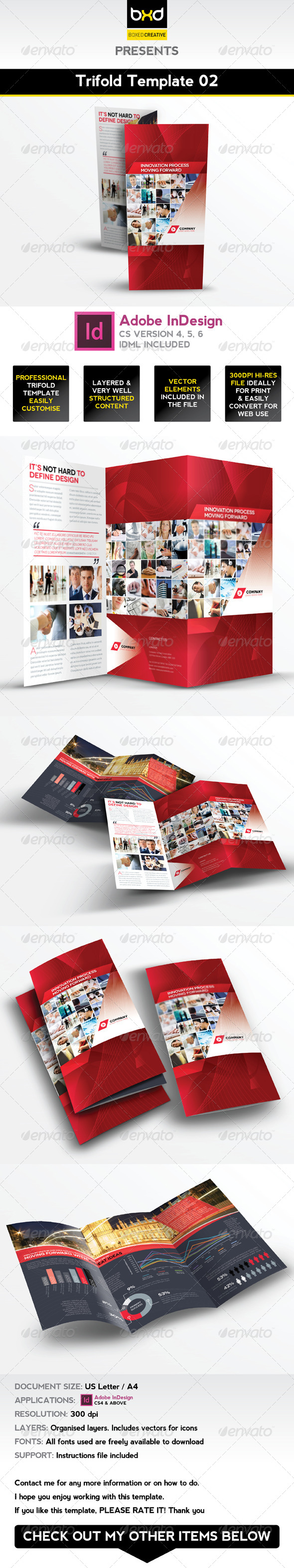 Trifold Brochure Template 02 - InDesign Layout - Corporate Brochures