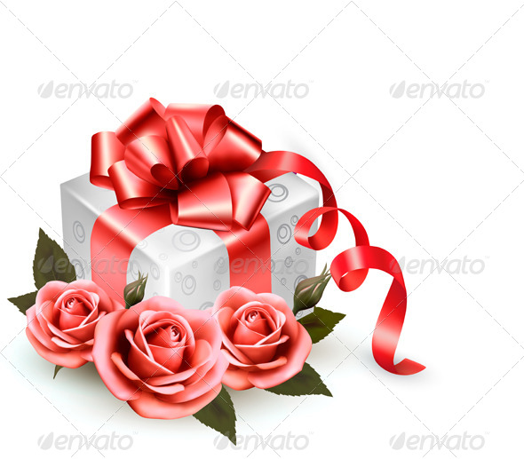 GraphicRiver Holiday Background with Pink Roses and Gift Box 4793062