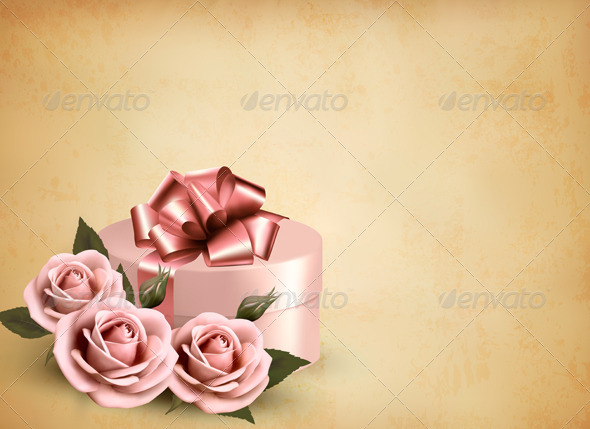GraphicRiver Holiday Retro Background with Pink Roses and Gift 4793100
