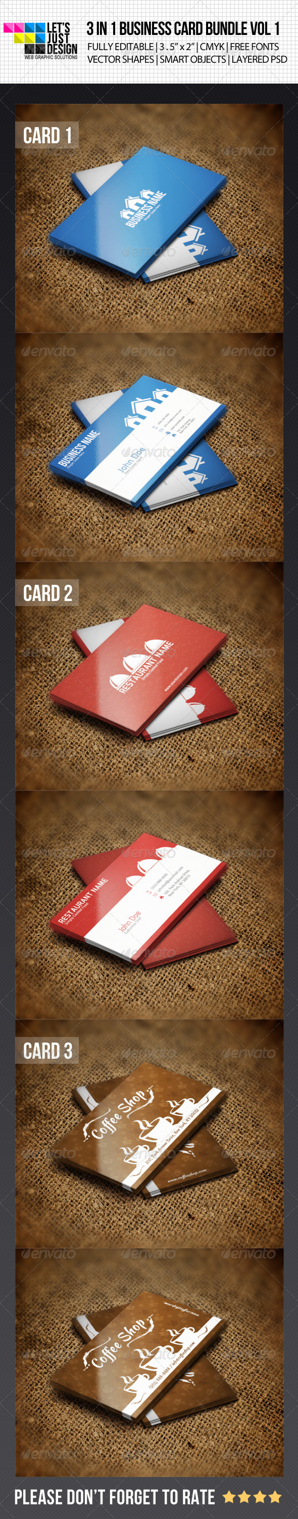 3 IN 1 Business Card Bundle Vol 1