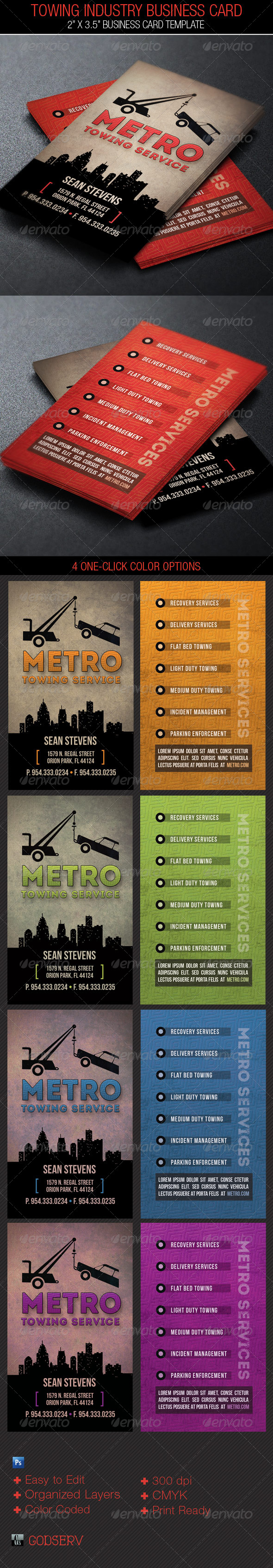 GraphicRiver Towing Industry Business Card Template 4793369