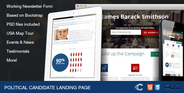 Political Candidate - Responsive Landing Page - Political Nonprofit