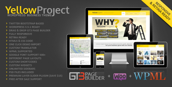 YellowProject Multipurpose Retina WP Theme - Business Corporate