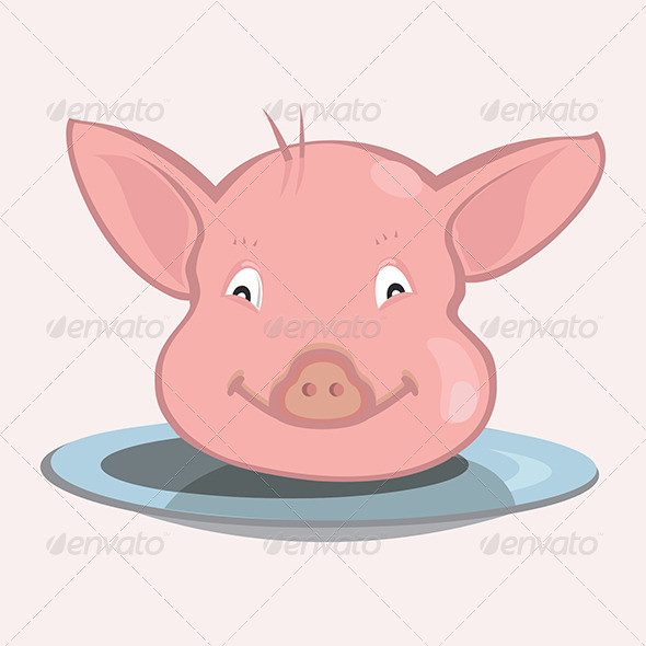 GraphicRiver Pig Face on Plate 4794333