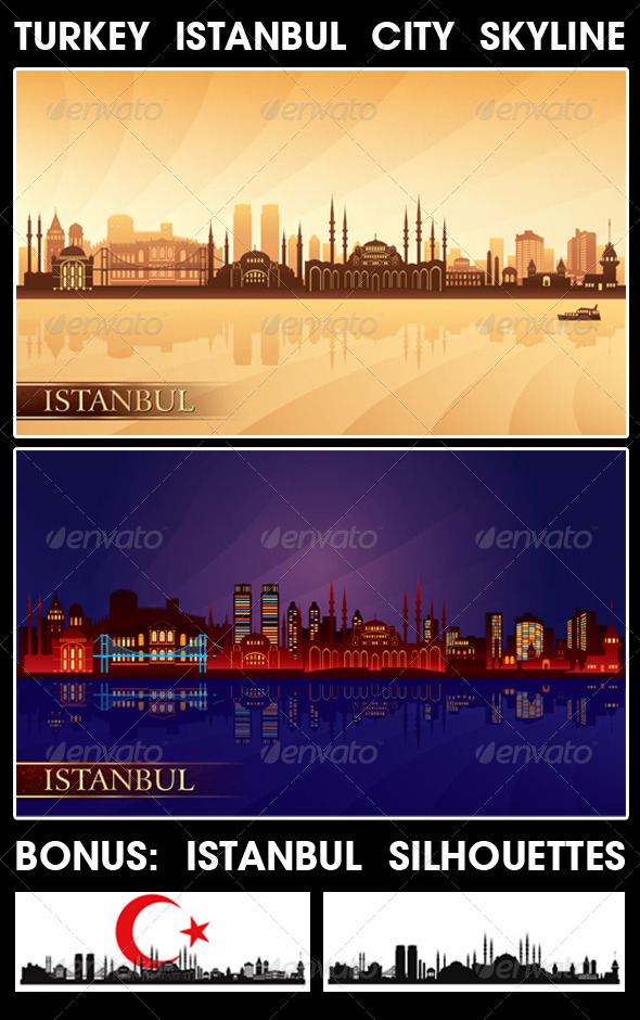 Istanbul Turkey City Skyline Silhouettes Set