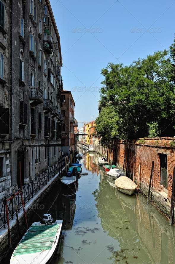 View of canal in Venice. - Stock Photo - Images