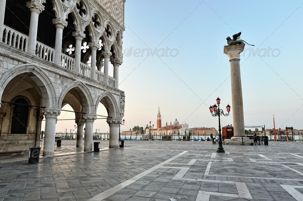 St. Marc squareand  Doge's Palace in Venice. - Stock Photo - Images