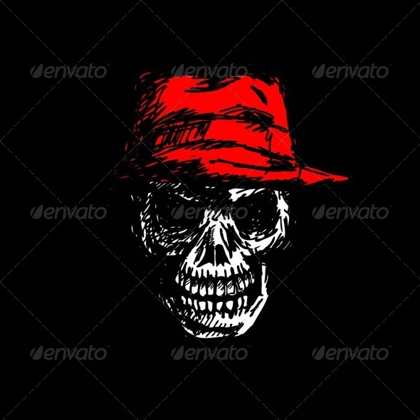 GraphicRiver Grunge Skull Head with Hat 4795633