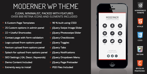 ThemeForest Moderner Mobile Retina WordPress Version 4796593
